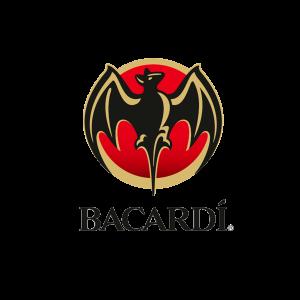 Logo Bacardi. Ritraente il pipistrello nero su sfondo rosso e oro