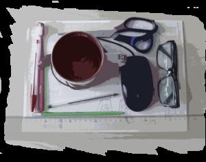 scrivania con sopra oggetti di grafica