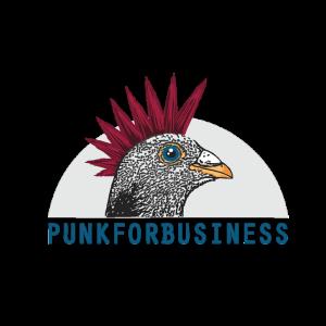 logo punkforbusiness. un gallo con la cresta punk