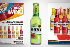 Grafica pubblicitaria per Breezer: qui poster per bacardi breezer e una bottiglia di breezer