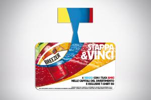 Grafica pubblicitaria per Breezer: qui lo stop-rayon per i supermercati