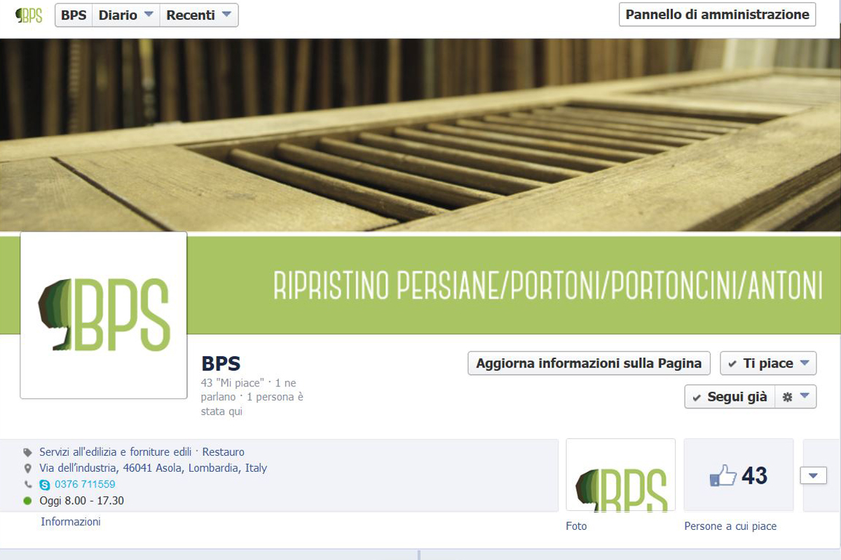 Ci occupiamo di social marketing. Qui foto di una pagina aziendale di facebook, di bps