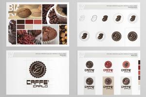 loghi aziendali per caffè carlo. Qui una bozza, l'evoluzione del lavoro