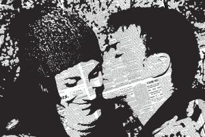 Realizzazione quadri, questo, con la tecnica del collage, ritrae un bacio