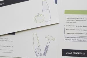 Materiali grafici per vendor, qui uno spaccao della brochure